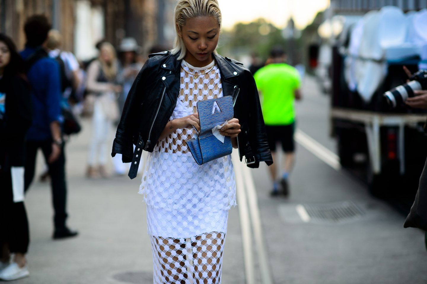 Vanessa Hong, style blogger, snapped at fashion week.