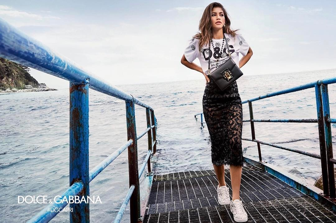 Zendaya Coleman for Dolce and Gabbana in a young influencer fashion campaign.